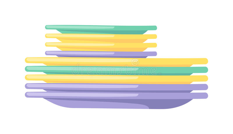 清洗烹调碗筷平的传染媒介例证的盘空的餐具厨房器物 库存例证