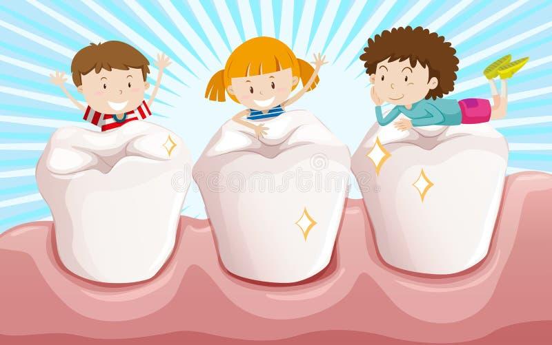 清洗牙和愉快的孩子 向量例证