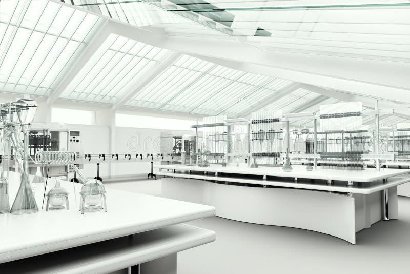 清洗现代白色实验室内部 免版税库存图片