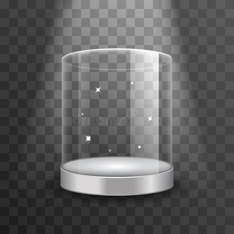 清洗玻璃陈列室指挥台与聚光灯和火花传染媒介例证 向量例证