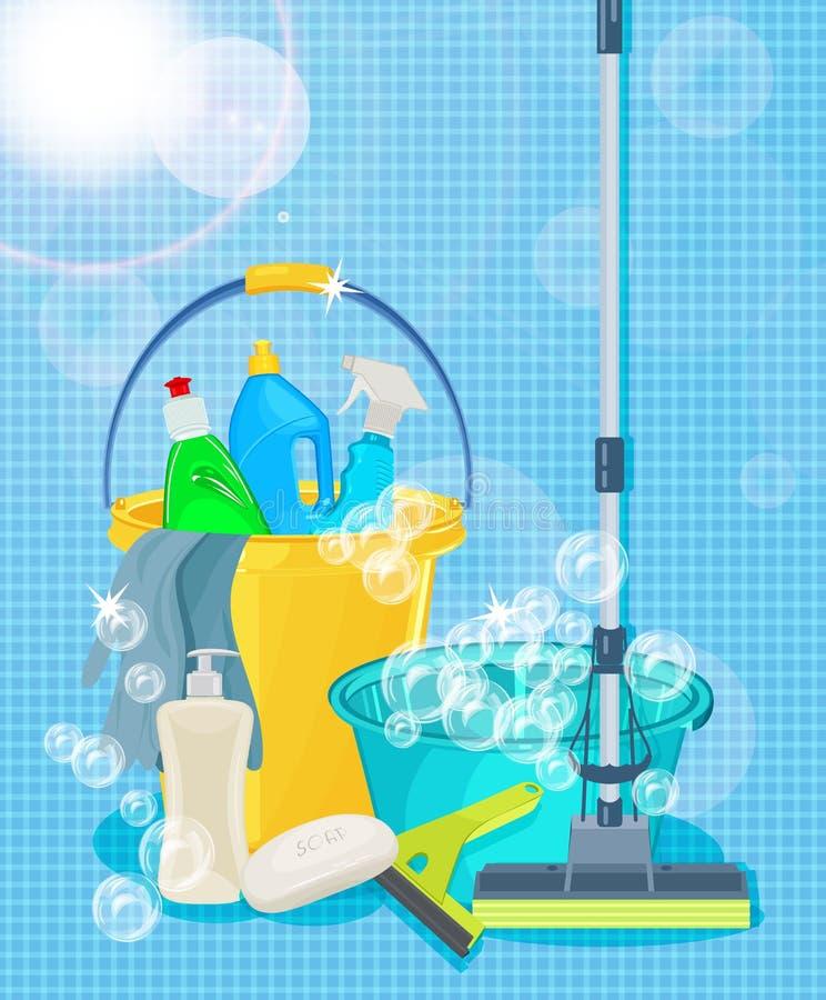 清洗的服务和清洁物品的海报设计 库存例证