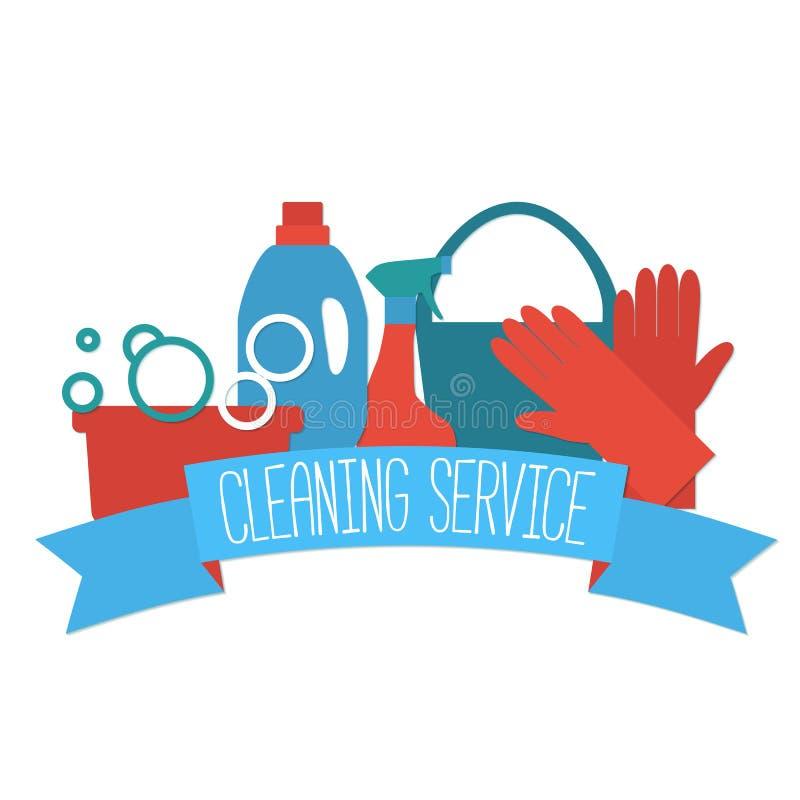 清洗的服务的平的设计商标 库存例证