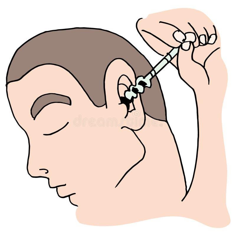 清洗他的耳朵的人使用工具 库存例证