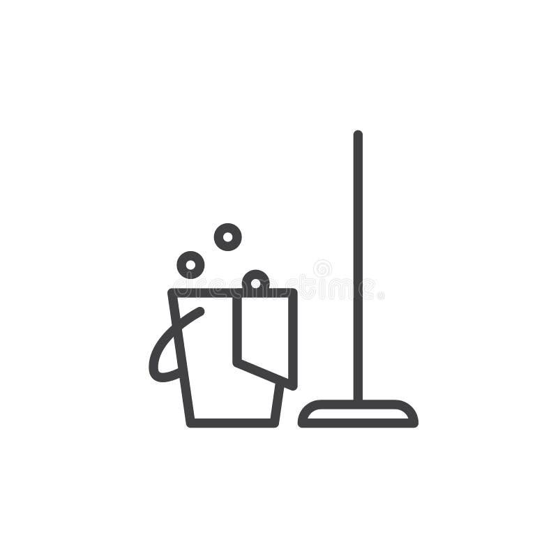 清洁线象,概述传染媒介标志,在白色隔绝的线性样式图表 库存例证