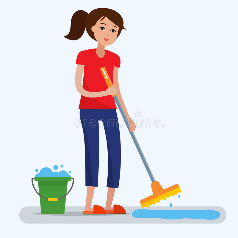 清洗肮脏的室的妇女与拖把 皇族释放例证