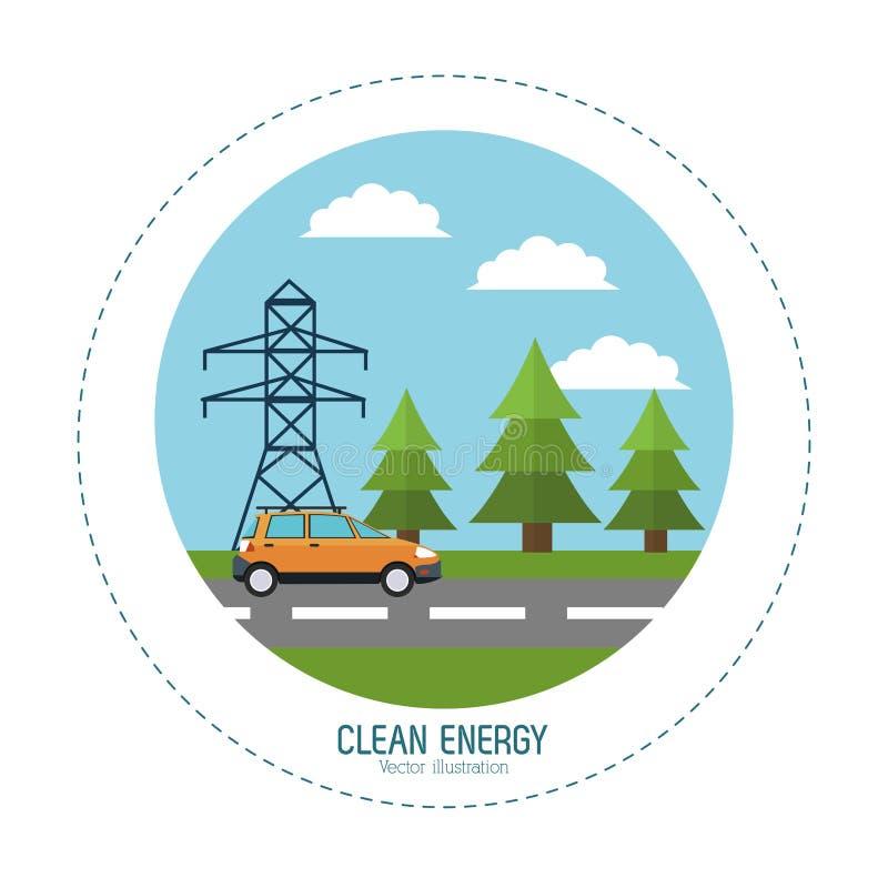 清洁能源汽车路电塔风景 向量例证