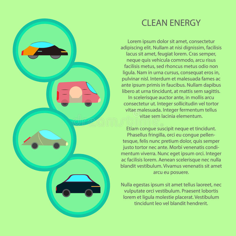 清洁能源infographic与平车象 向量例证