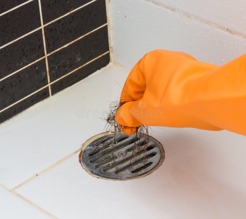 清洁被堵塞的卫生间头发 库存图片