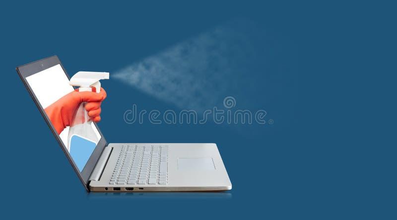 清洁计算机的服务工作者 库存图片