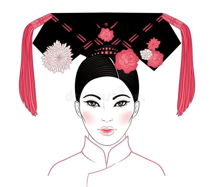 清代, 19世纪的高尚的满州的妇女 Traditiona 皇族释放例证