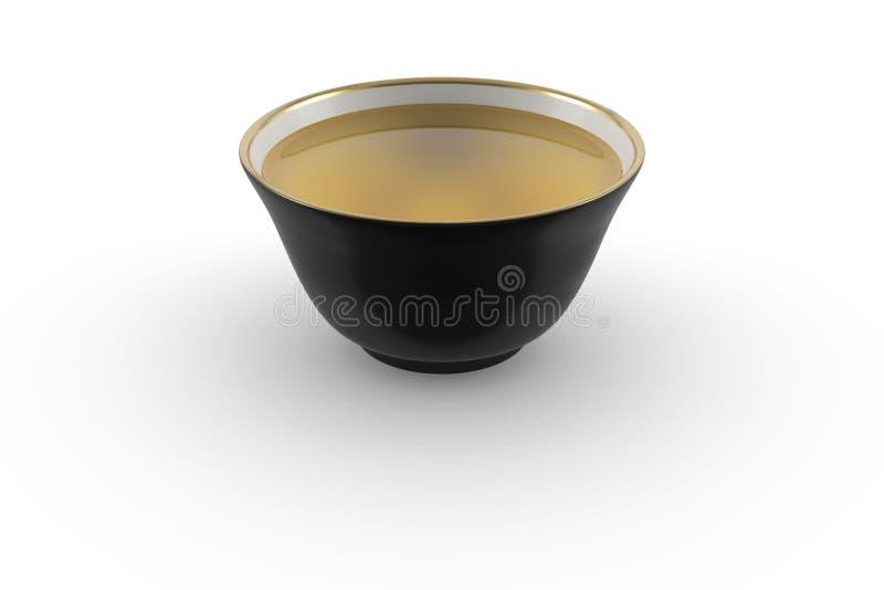 渐近日本或中国茶碗用绿茶的黑白金子 免版税图库摄影