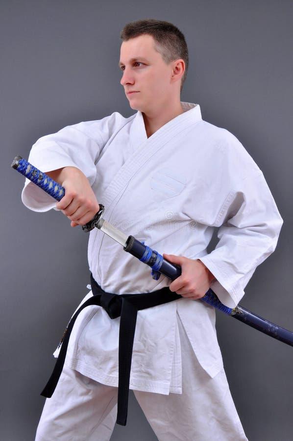 渐近的日本唯一剑 免版税库存照片