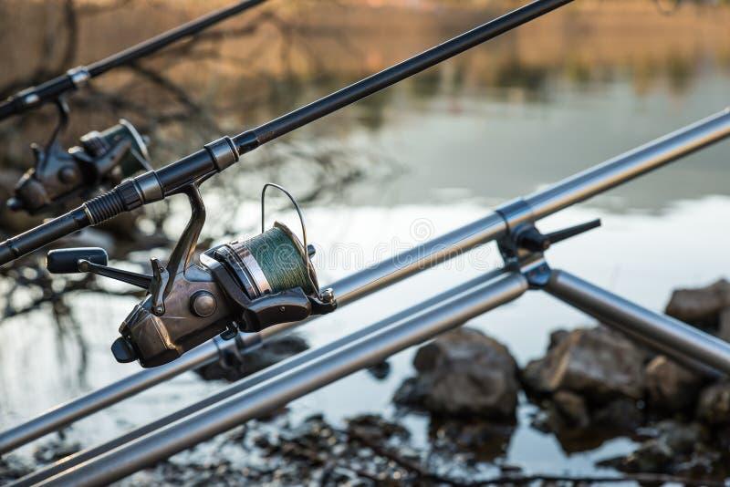 渔冒险-渔卷轴的特写镜头 免版税图库摄影