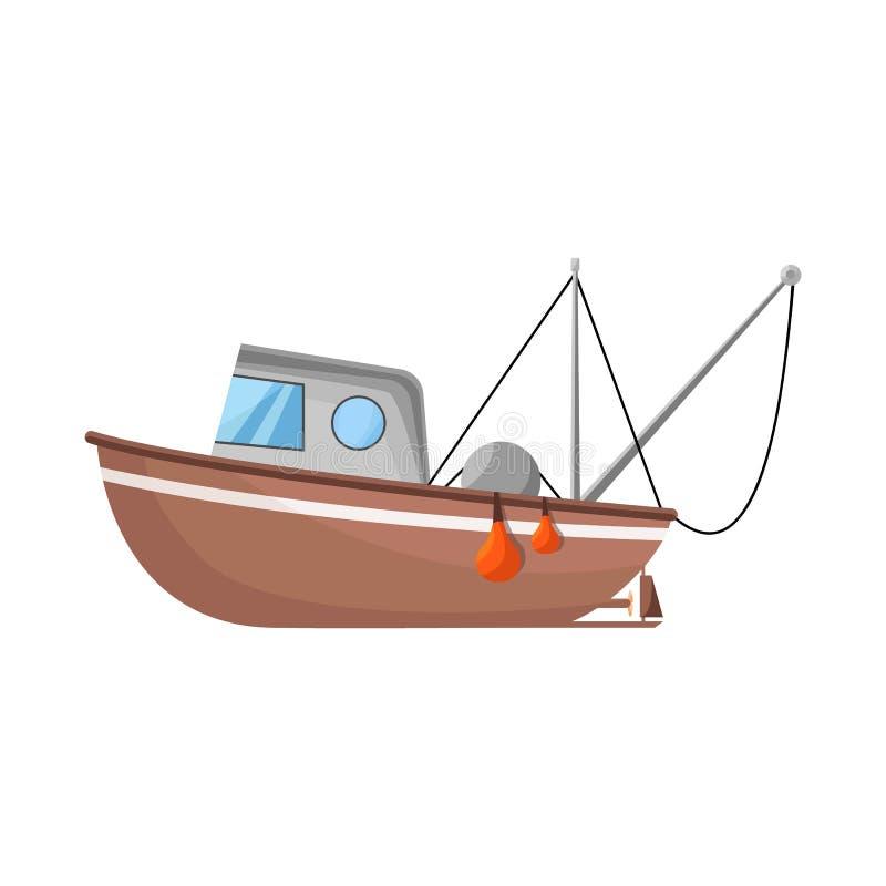 渔场和拖网渔船商标传染媒介设计  设置渔场和海军储蓄传染媒介例证 皇族释放例证