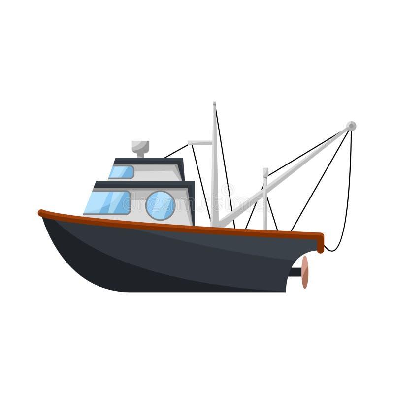 渔场和拖网渔船商标的传染媒介例证 设置渔场和猛拉股票传染媒介例证 向量例证