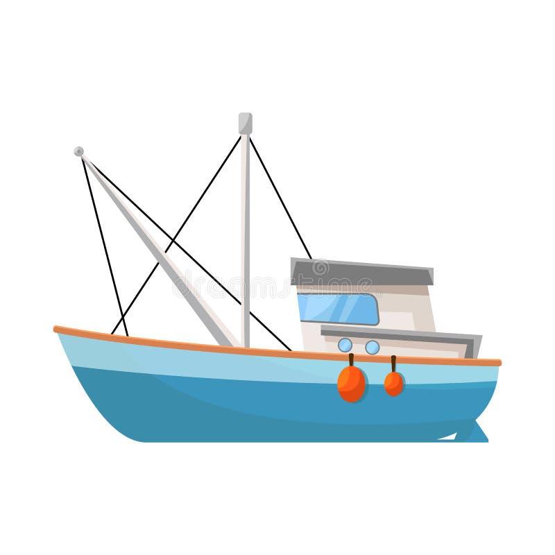 渔场和拖网渔船商标被隔绝的对象  渔场和猛拉股票的传染媒介象的汇集 向量例证