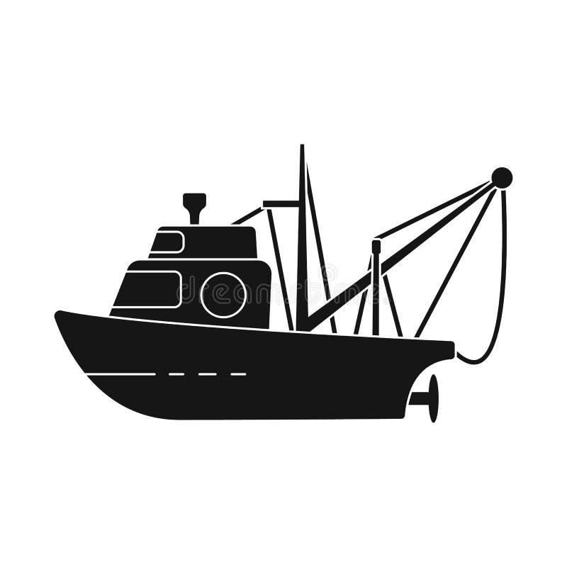 渔场和拖网渔船标志传染媒介设计  渔场和猛拉股票简名的汇集网的 库存例证