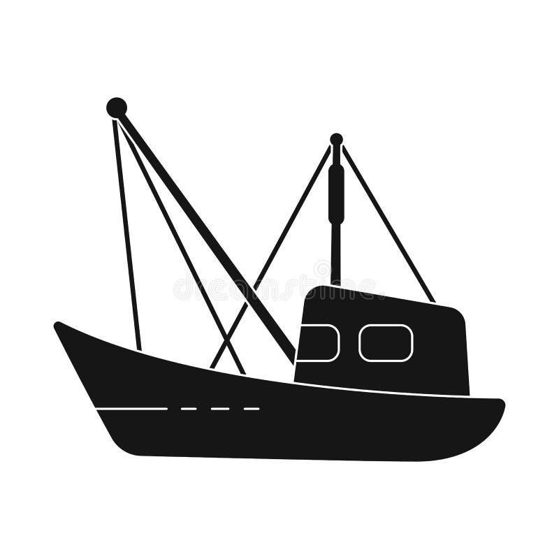 渔场和拖网渔船标志被隔绝的对象  设置渔场和海军传染媒介象股票的 库存例证