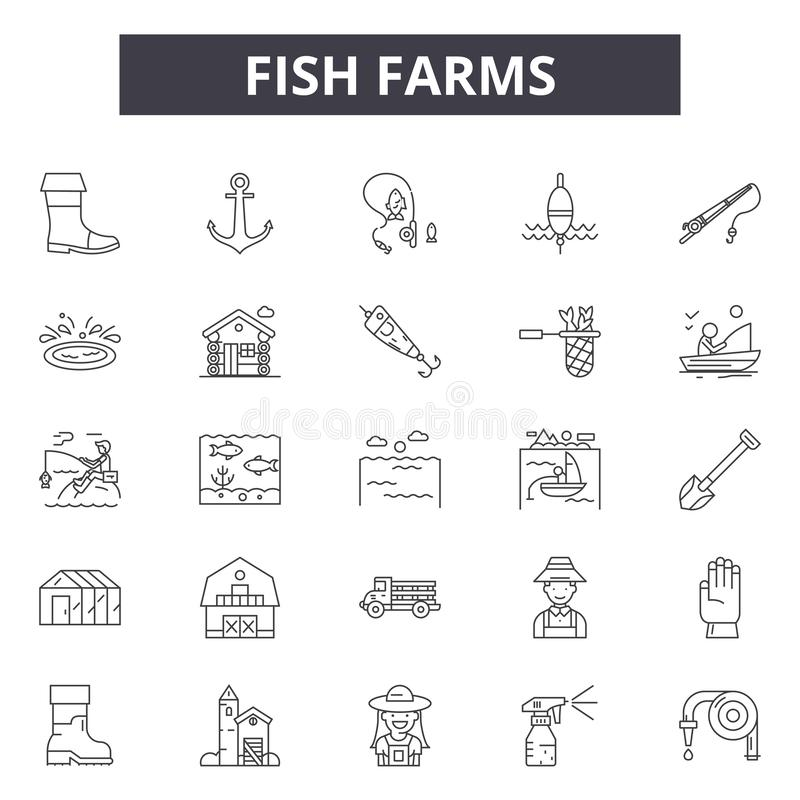 渔场网和流动设计的线象 编辑可能的冲程标志 渔场概述概念例证 皇族释放例证