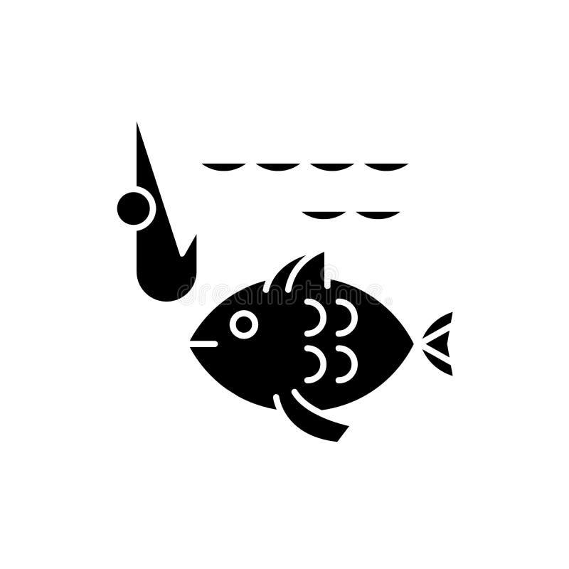 渔场黑色象,在被隔绝的背景的传染媒介标志 渔场概念标志,例证 库存例证