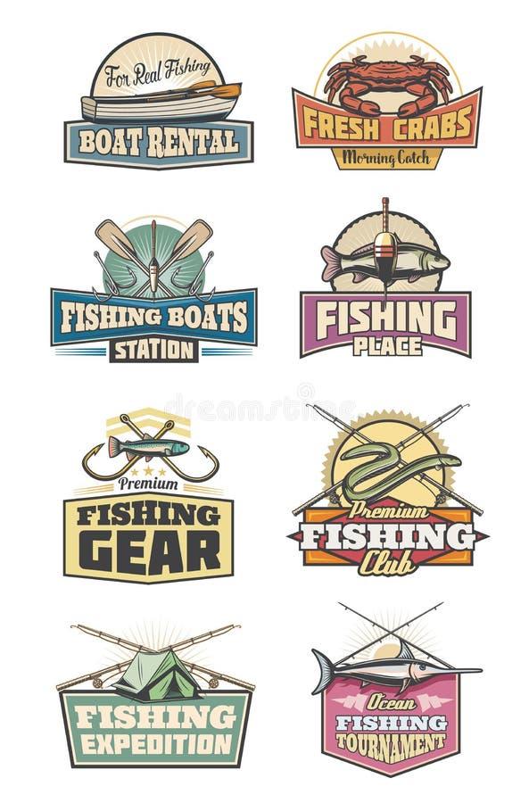 渔场齿轮渔俱乐部减速火箭的象标尺和鱼 库存例证