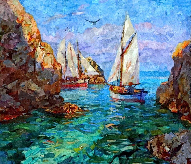 渔大篷车 背景海滩分行横向海洋日落结构树 在纸的绘的湿水彩 天真艺术 在纸的图画水彩 向量例证