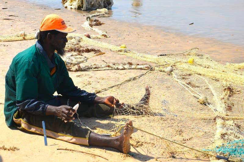 渔夫冈比亚海滩2 库存照片