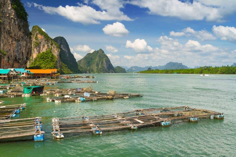 渔夫净额在酸值Panyee结算,泰国 免版税库存图片