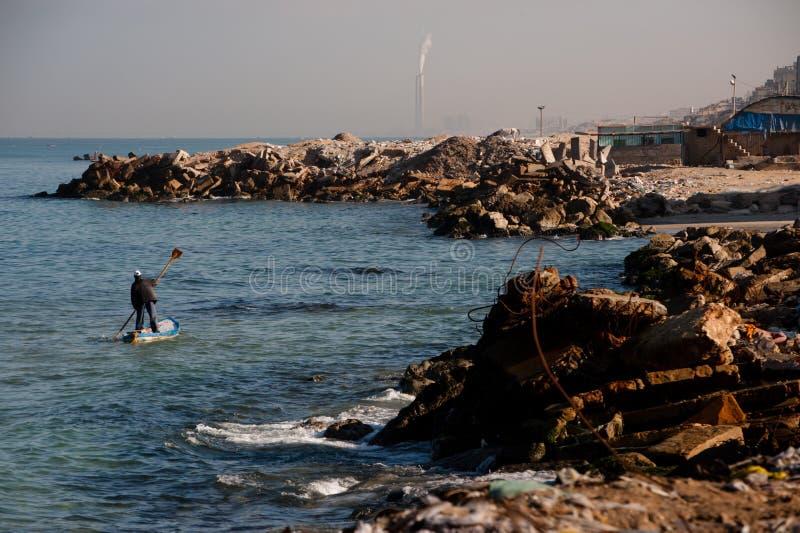 渔夫加沙海岸线 免版税库存照片