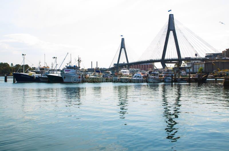 渔夫口岸在悉尼与安扎克桥梁的鱼市上在背景,在显示安扎克桥梁的黑暗的音色的图象中 免版税库存图片