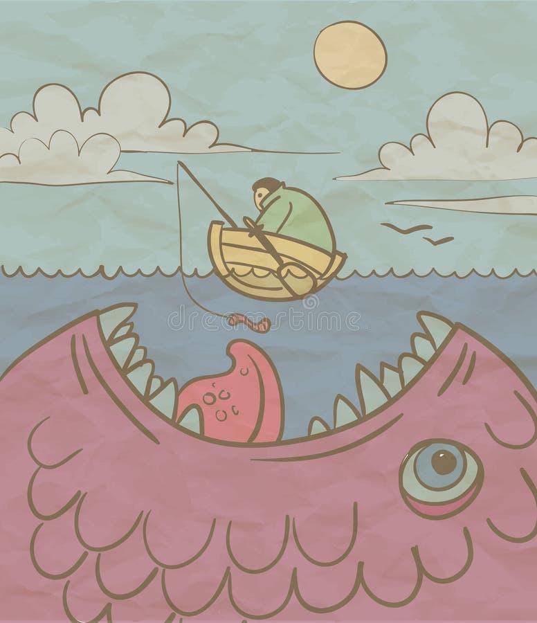渔夫和一条巨大的鱼在海 皇族释放例证