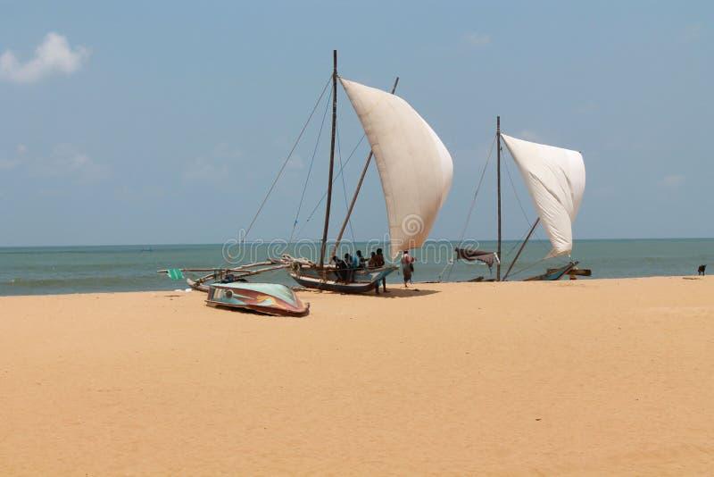 渔夫和小船 库存图片