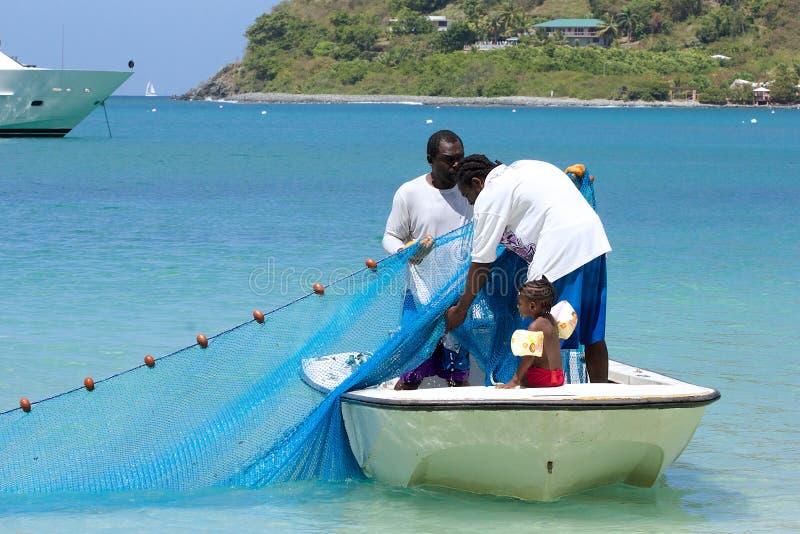 渔夫在托尔托拉岛,加勒比 免版税库存图片