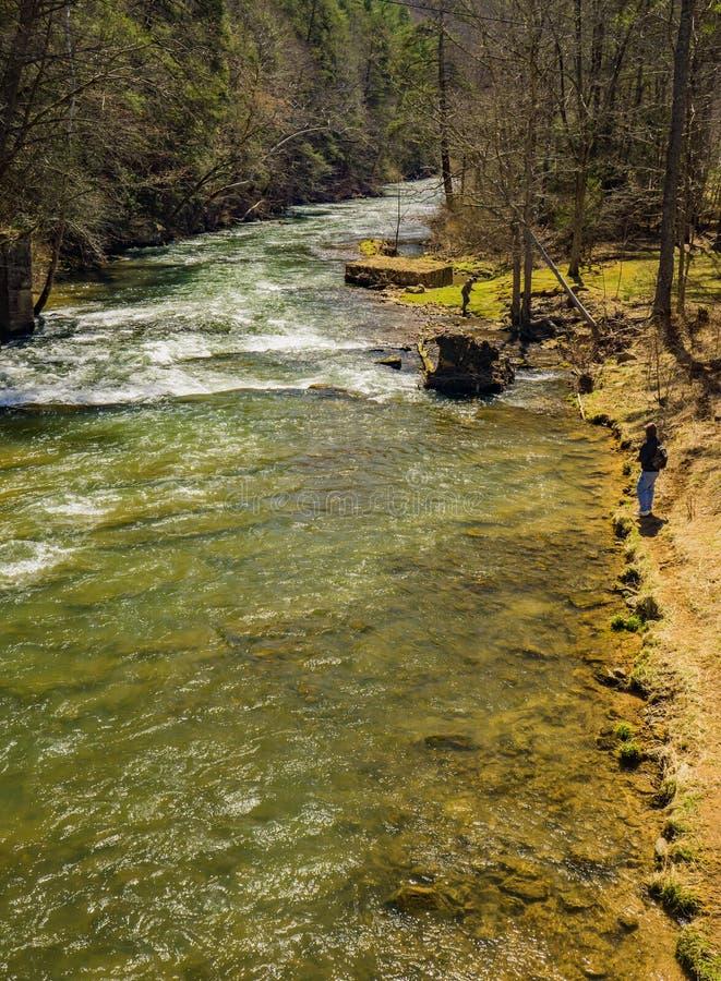 渔夫在杰克逊河的鳟鱼钓鱼 免版税图库摄影