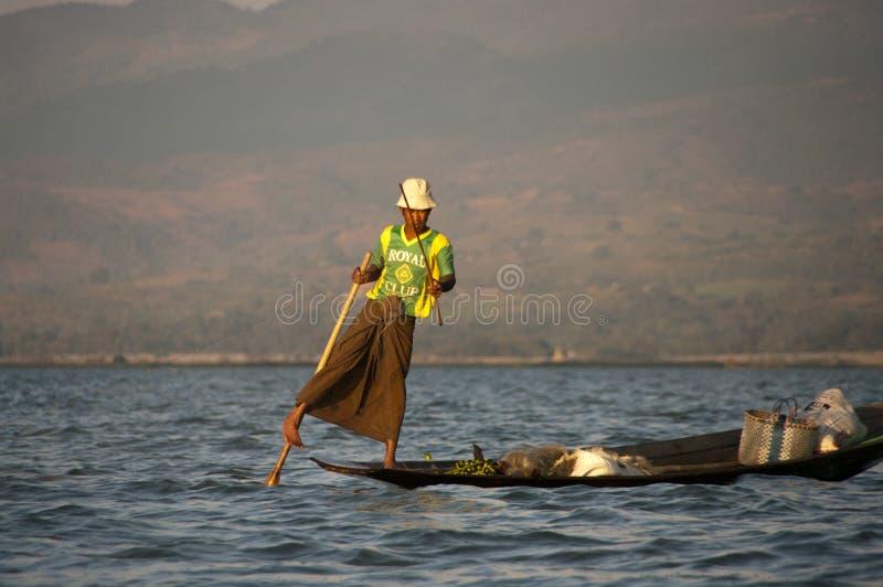 渔夫在Inla湖,缅甸 免版税图库摄影