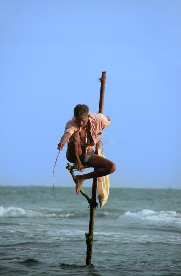 渔夫在Unawatuna,斯里兰卡 库存照片