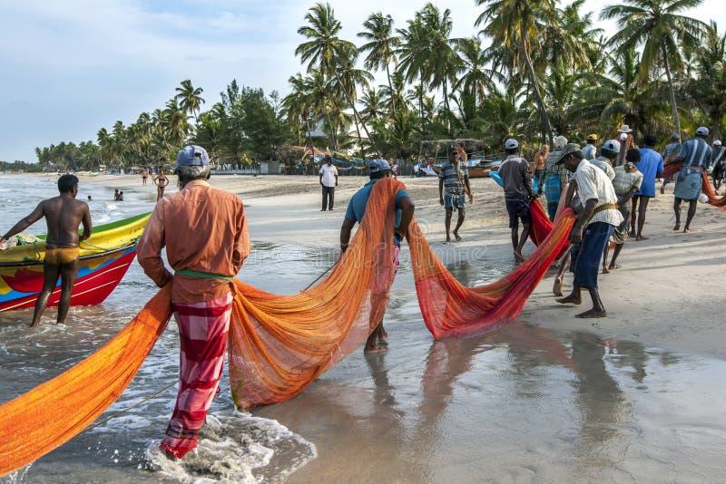 渔夫在Uppuveli进站他们的在海滩上的捕鱼网在斯里兰卡 免版税库存照片