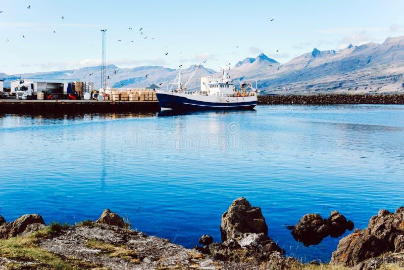渔夫小船在南冰岛 免版税图库摄影