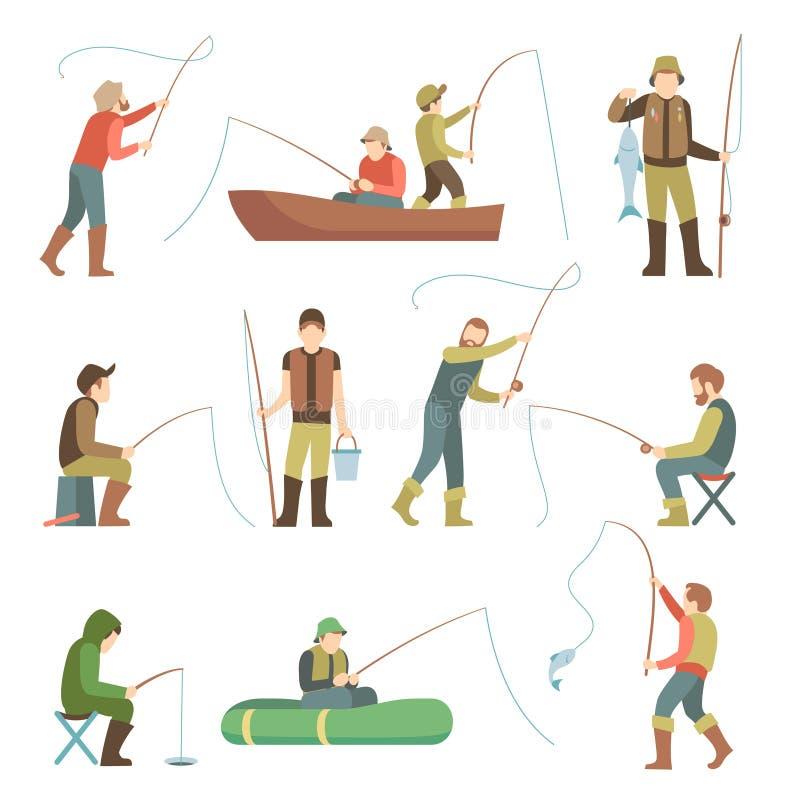 渔夫平的象 有鱼和设备传染媒介集合的渔人 向量例证