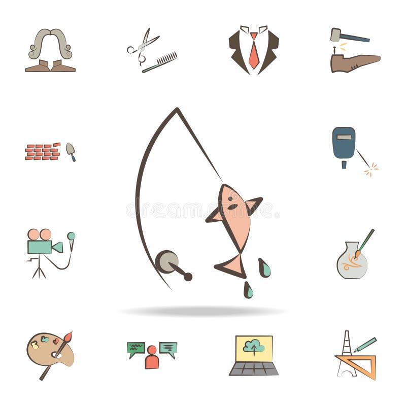 渔夫用工具加工象 详细的套各种各样的行业象工具  优质图形设计 其中一个汇集象为 向量例证