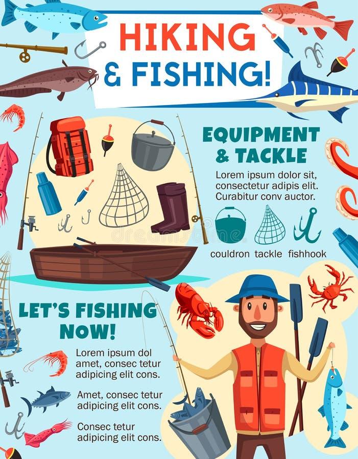渔夫用鱼,钓鱼和旅游业设备 向量例证