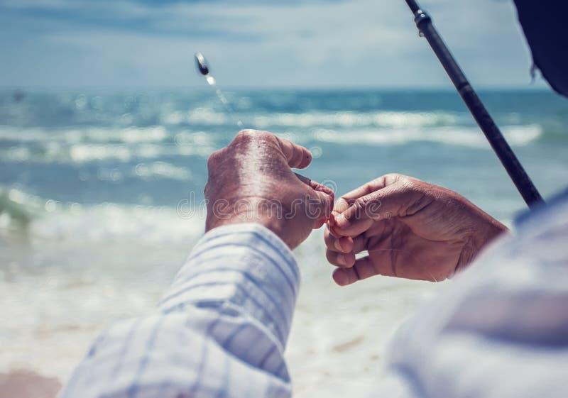 渔夫的关闭在一个钓鱼钩上把蠕虫放在海滩 免版税库存图片