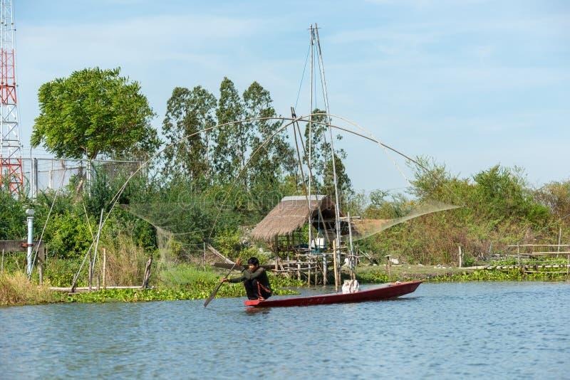 渔夫的村庄在有一定数量钓鱼的工具的泰国叫 免版税库存图片