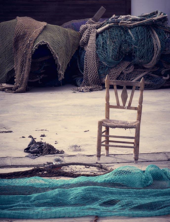 渔夫的缺席,寂寞在海 免版税库存照片