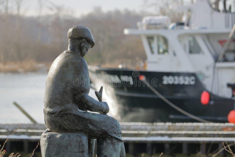 渔夫纪念雕象在Steveston 免版税库存图片