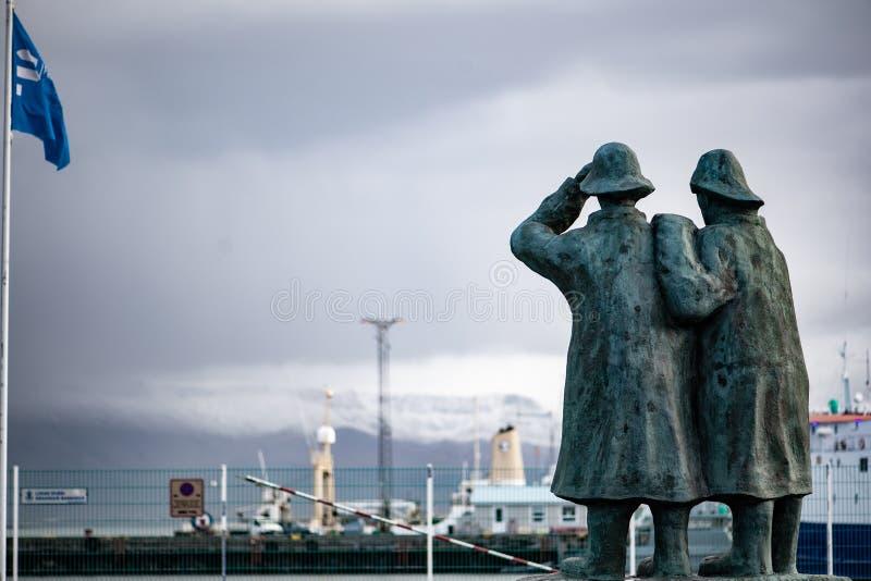 渔夫雕象在雷克雅未克冰岛 库存照片