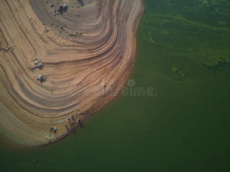 渔夫鸟瞰图Valdecañas沼泽的,用由海藻的绿色水和水下降的自然线  ?? 图库摄影