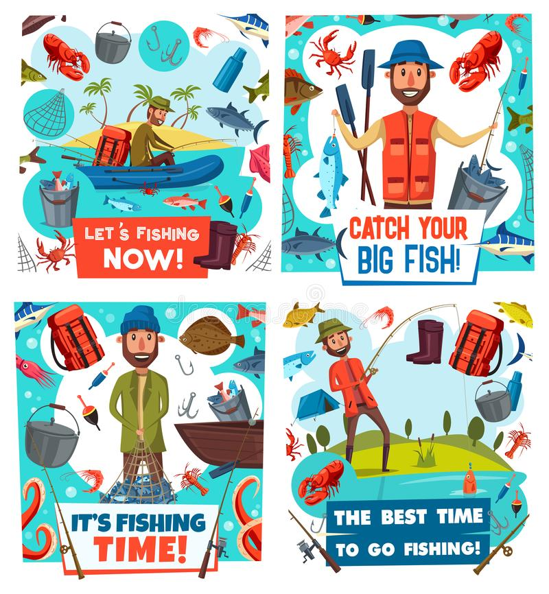 渔夫,钓鱼运动器材和鱼捕获 皇族释放例证