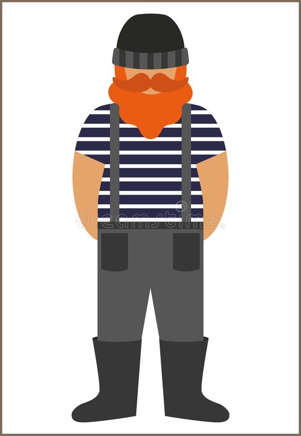 渔夫/水手人平的象-有髭的一个人胡子佩带在背心和总体连衫裤靴子和编织帽子 图库摄影