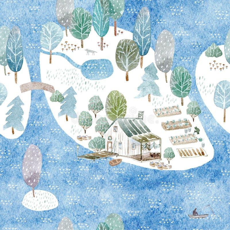 渔夫` s房子、海岛和庭院的无缝的样式 皇族释放例证